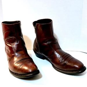 HH western leather zipper ankle boot